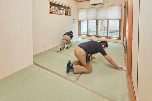 敷いた畳の表面を拭く最終工程