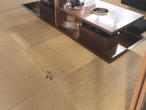 施工前の和紙畳(亜麻色)