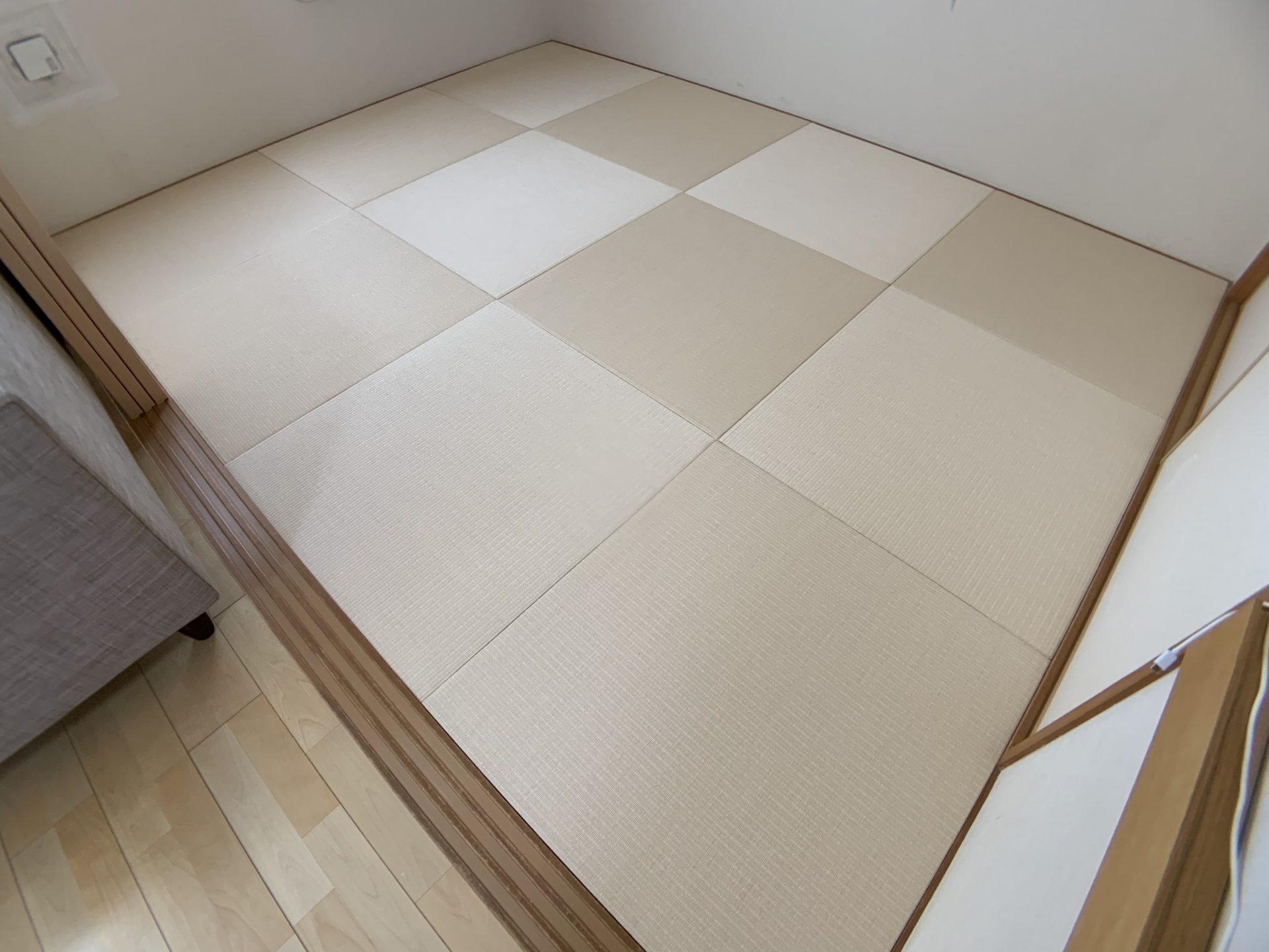 縁付き畳からヘリなし畳に張り替え